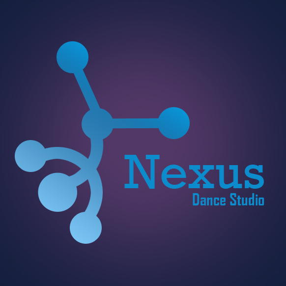 The logo that symbolizes a b-boy doing a handstand connected like a network for Nexus Dance Studio, Ipoh.